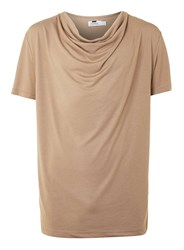 Topman Tan Cowl Neck T Shirt Brown