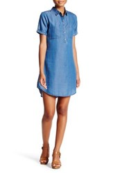 Want And Need Chambray Shirt Dress Blue