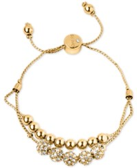 Guess Gold Tone Pave Beaded Double Row Slider Bracelet