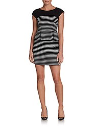Saks Fifth Avenue Red Striped Peplum Dress Black White