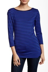 14Th And Union 3 4 Length Sleeve Boatneck Striped Tee Blue