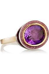 Alice Cicolini 14 Karat Gold Silver Amethyst And Enamel Ring