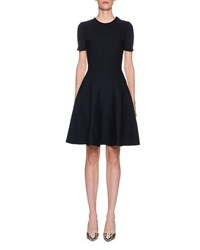 Marni Two Tone Short Sleeve Fit And Flare Dress Dark Blue