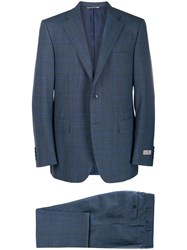 Canali Checked Two Piece Suit Blue