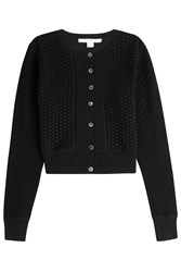 Diane Von Furstenberg Silk Cotton Blend Cardigan Black