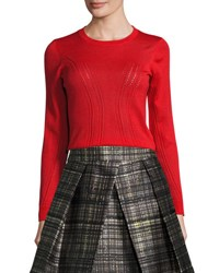 Milly Corsetry Stitched Wool Crewneck Sweater Red
