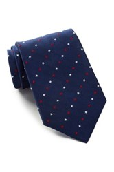 Alara Silk Patriotic Red And White Stars Tie Blue
