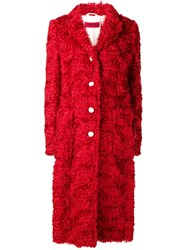 The Gigi Single Breasted Shearling Coat Red