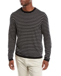 Neiman Marcus Cashmere Silk Striped Long Sleeve T Shirt Black Gray