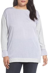 Vince Camuto Plus Size Women's Two By Mixed Media Sweatshirt Grey Heather