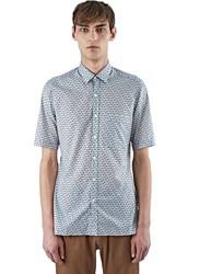 Lanvin Slim Fit Chevron Print Cotton Shirt Black