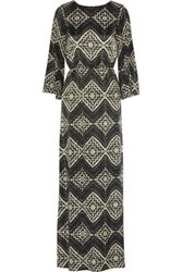 Alice Olivia Christabel Printed Silk Chiffon Kaftan Dress Black