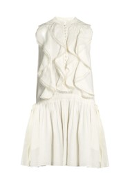 Chloe Ruffle Trimmed Sleeveless Linen Dress White