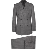Kingsman Grey Double Breasted Glen Check Suit Gray