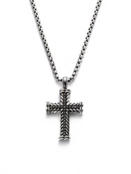 David Yurman Pave Chevron Cross Necklace Silver