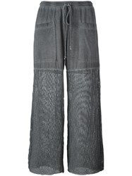 Lost And Found Rooms Mesh Panel Palazzo Pants Grey