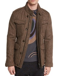 Etro Herringbone Wool Safari Jacket Brown
