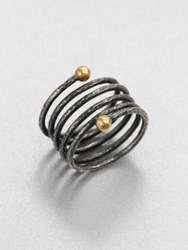 Gurhan 24K Yellow Gold And Blackened Sterling Silver Spring Wrap Ring Silver Gold
