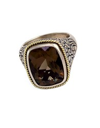 Effy Balissima Sterling Silver And 18K Yellow Gold Smokey Quartz Ring Brown