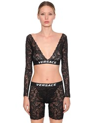 Versace Logo Printed Lace Bra Top Black