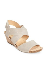 Me Too Crisscross Wedge Sandals Steel Grey