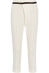 Zeus Dione Corinth Pinstriped Linen Tapered Pants