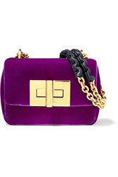Tom Ford Natalia Mini Velvet Shoulder Bag Purple