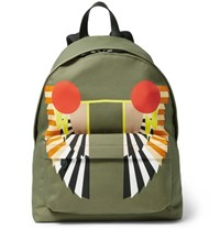 Givenchy Leather Trimmed Printed Canvas Backpack Green
