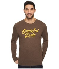Life Is Good Grateful Dude Thanks Long Sleeve Crusher Tee Heather Rich Brown Men's Long Sleeve Pullover Beige