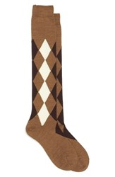 Maria La Rosa Women's Argyle Wool Blend Knee Socks Light Brown Bordeaux White