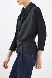 Topshop Cowl Batwing Blouse By Boutique Navy