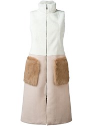 Drome Sleeveless Bicolour Coat Nude And Neutrals