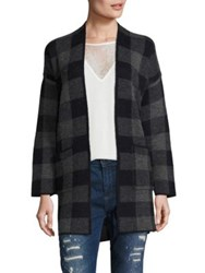 Set Plaid Open Front Cardigan Dark Blue Grey