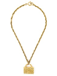 Chanel Vintage Iconic Bag Pendant Necklace Metallic