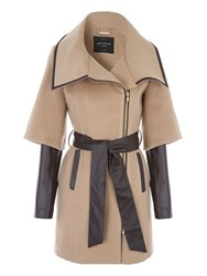 Jane Norman Tan Pu Zip Detail Coat Camel