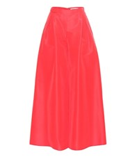 Carolina Herrera Silk Taffeta Wide Leg Trousers Red