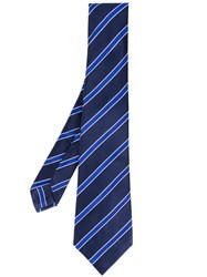 Kiton Striped Tie Men Cotton One Size Blue