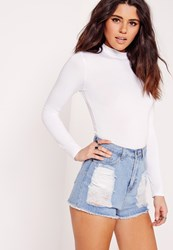 Missguided White Tall Long Sleeve Turtle Neck Top