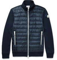 Moncler Cotton Jersey And Quilted Shell Down Jacket Navy