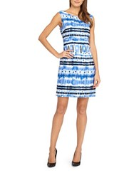 Tahari By Arthur S. Levine Abstract Print Linen Dress White Royal Blue
