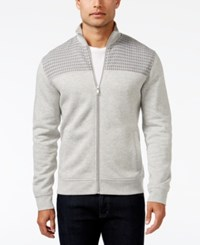 Alfani Men's Mock Collar Full Zip Sweater Jacket Only At Macy's Night Mist Heather