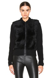 Calvin Klein Collection Vico Chunky Cashmere And Shearling Cardigan In Black