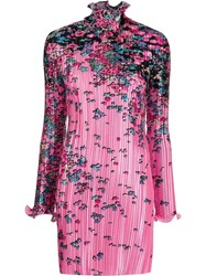 Givenchy Floral Print Pleated Satin Dress Pink