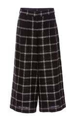 Tibi Salome Plaid Gauze Edie Culotte Black