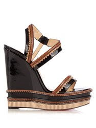 Christian Louboutin Trepi 140Mm Patent Leather Wedge Sandals Black