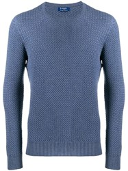 Barba Long Sleeve Knitted Sweater Blue