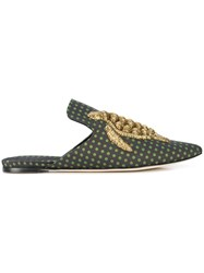 Sanayi 313 Turtle Embroidered Mules Green