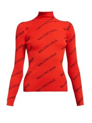 Balenciaga Logo Print Funnel Neck Jersey Top Red Multi