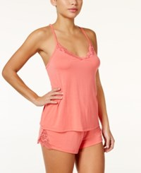 Flora Nikrooz By Amelia Lace Trimmed Cami And Shorts Knit Pajama Set Papaya