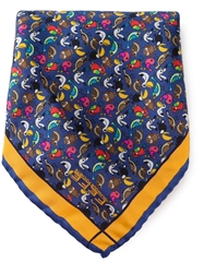 Fe Fe Fefe Birds Print Pocket Square Handkerchief Blue